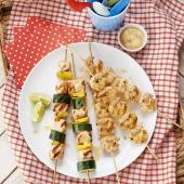 Summer skewers with a sweet chilli dip