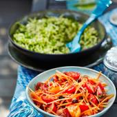 Tomato and carrot salad with pine nuts and raisins
