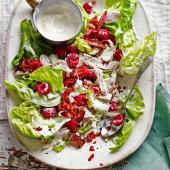 Chicken and pancetta salad with raspberries and mustard dressing