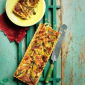 Spring onion and bacon tart