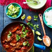 Smoky chipotle chicken one-pot with chunky coriander guacamole