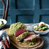 Herby rack of lamb with lemon ricotta courgettes