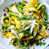 Balsamic courgette, pine nuts and Parmesan salad