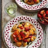 Spiced cod with roasted cauliflower and salsa