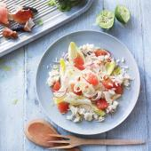 Spiced crab salad with fennel, grapefruit and chicory