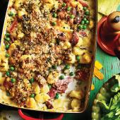 Gnocchi, ham and pea gratin