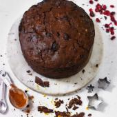 Spiced chocolate, walnut and fruit cake