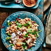 Spiced cauliflower, pea and cashew pilaf