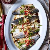 Pan-fried sea bass with ginger and spring onion