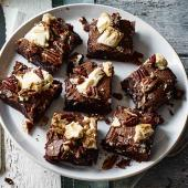 Salted pecan and white chocolate brownies