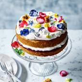 Rose-scented cake with crystallised flowers