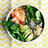 Smoked salmon sushi salad bowl
