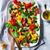 Tomato and nasturtium salad with elderflower dressing