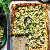 Courgette, feta and mint tart