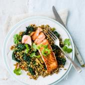 Crispy salmon with freekeh and cavolo nero