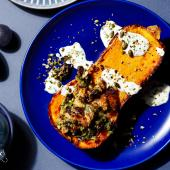 Roast squash with pumpkin seed and cranberry stuffing