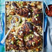 Mexican chicken with roast squash rice and smoky tomato relish