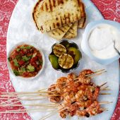 Tandoori prawn pockets with tomato salsa