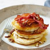 Banana pecan pancakes with crispy bacon