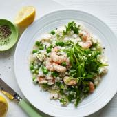 Oven-baked prawn, pea and rocket risotto
