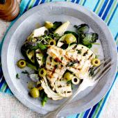 Griddled chicken with warm courgette and fennel salad