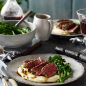 Three-pepper steaks with pommes mousseline