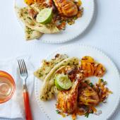 Tandoori chicken drumsticks with salsa and griddled apricots