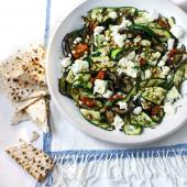 Aubergine, courgette and feta salad