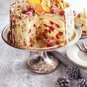 Orange, cranberry and white chocolate gateau