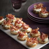 Cheese and pancetta scones with crispy pancetta shards