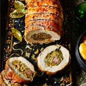 Roast turkey breast with apricot, gammon and pistachio stuffing