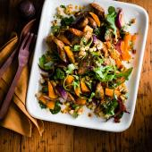 Roast sausage and squash salad