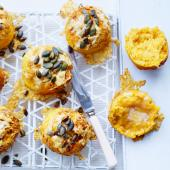 Cheese-crusted butternut squash scones