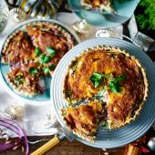 Red Leicester, pickled onion and watercress quiche