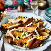 Sweet potato and Stilton salad with candied walnuts