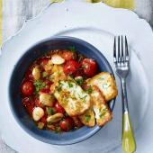 Greek butter beans with halloumi