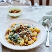 Blue cheese gnocchi with savoury granola