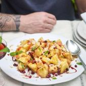 Pineapple, coconut, mint and pomegranate salad