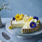 Lemon and cardamom chiffon pie with coconut pastry