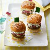 Beef sliders with cheddar, red onion pickle and crème fraîche