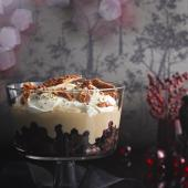 Chocolate brownie, cherry and honeycomb trifle
