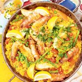 Langoustine and chicken paella
