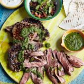 Ribeye steaks with chimichurri sauce
