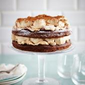 Chocolate sponge and meringue layer cake