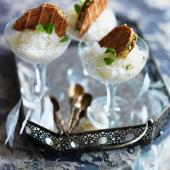 Mint julep granita with lemon waffle biscuits