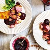 Duck breasts with spiced blackberry sauce
