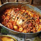 Spanish pot-roasted lamb with chorizo and white beans