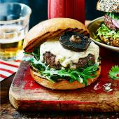 Burger with smoky Stilton sauce