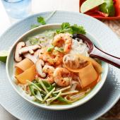 Miso soup bowl with prawns