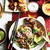 Satay chicken with soba and cucumber noodle salad